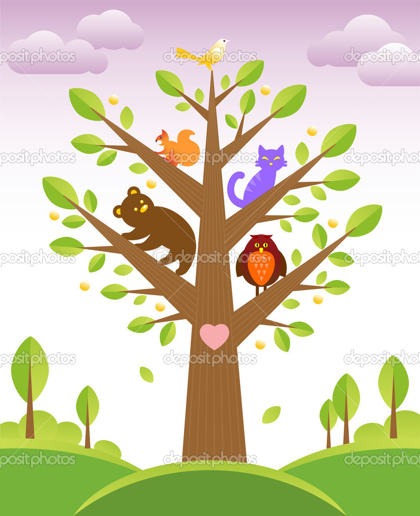 Bunch of cute little creatures gathered on the branches of tree — Stock Vector #2839439