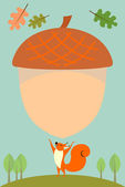 Squirrel and Acorn — Stock Vector