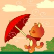 Cat with Umbrella — Stock Vector