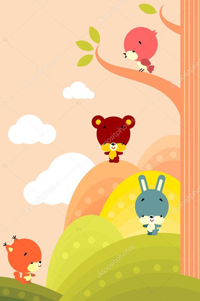 Group of little cute animals on a background of stylized landscape — Stock Vector #3143215
