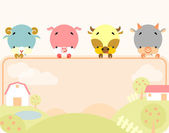 Cute farm animals banner — Stock Vector