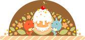 Kanin och ekorre med tårta — Stockvektor