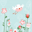 Bird and flowers — Stock Vector