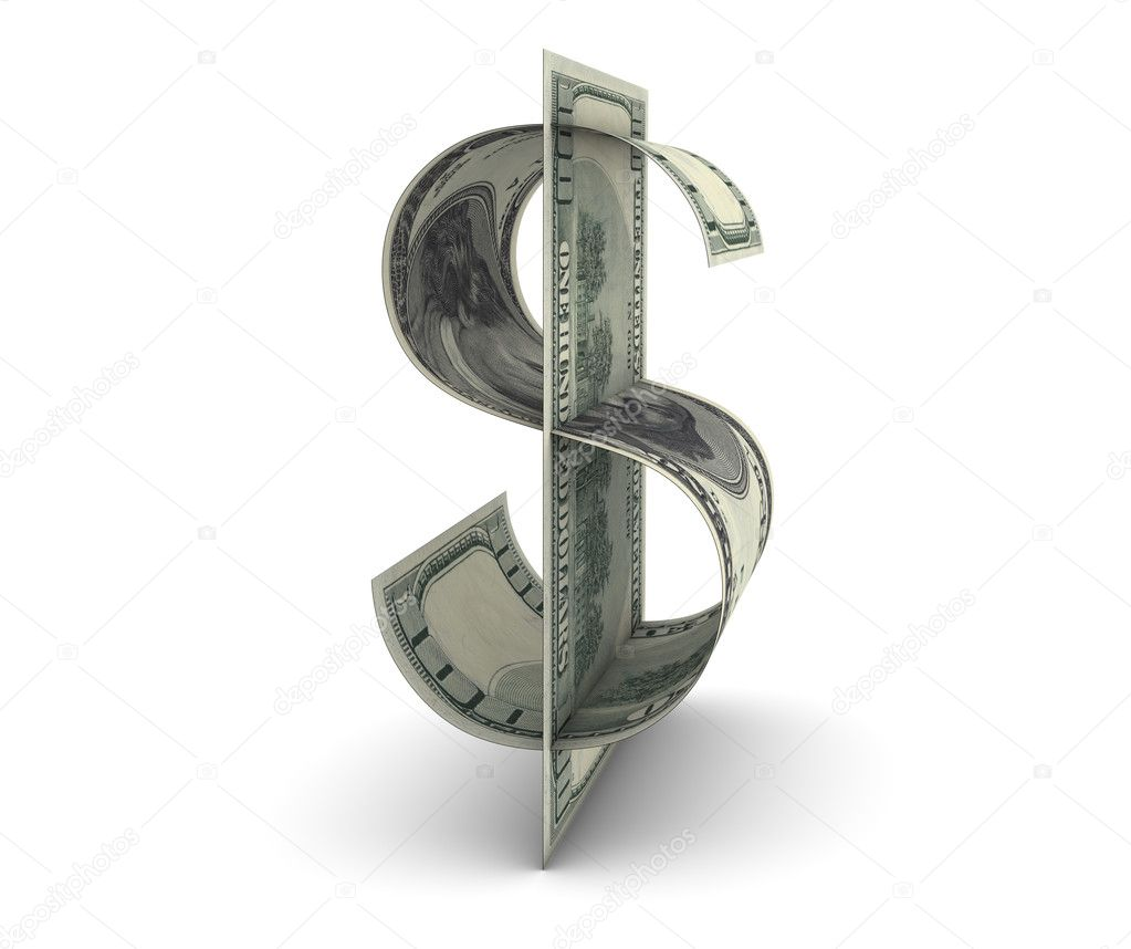Dollar shape made with two one hundred dollars bills  Stock Photo #2850925