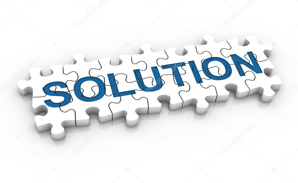 White jigsaw puzzle with blue word solution on a white background. Concept image. Part of a series. — Stock Photo #2851143