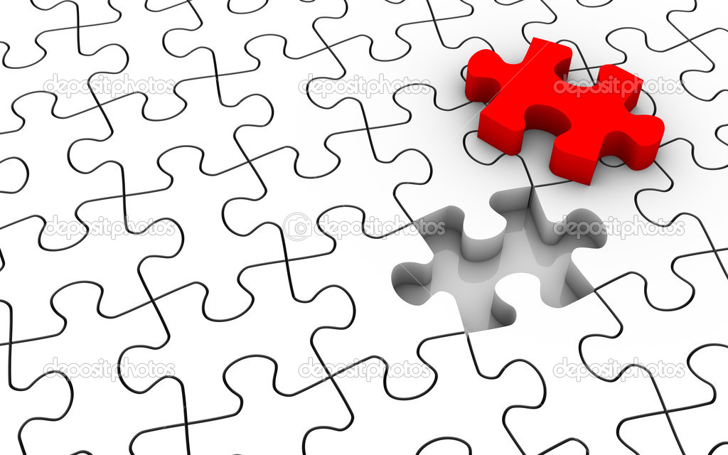 White jigsaw puzzle with last piece in red color. Image concept and part of a series. — Stockfoto #2851148