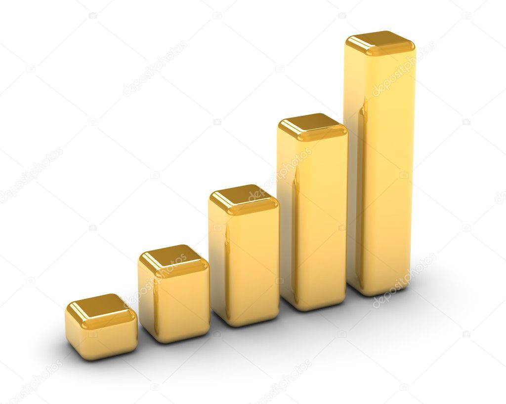 Golden bar graph on a white background. Part of a series. — Stock Photo #2851211