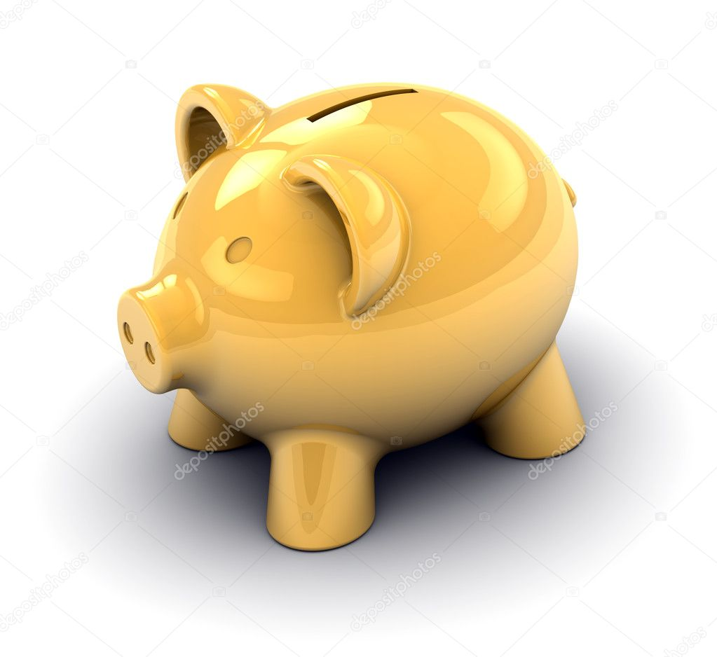 Golden piggy bank on a white background. Image concept and part of a series.  Stock Photo #2851254