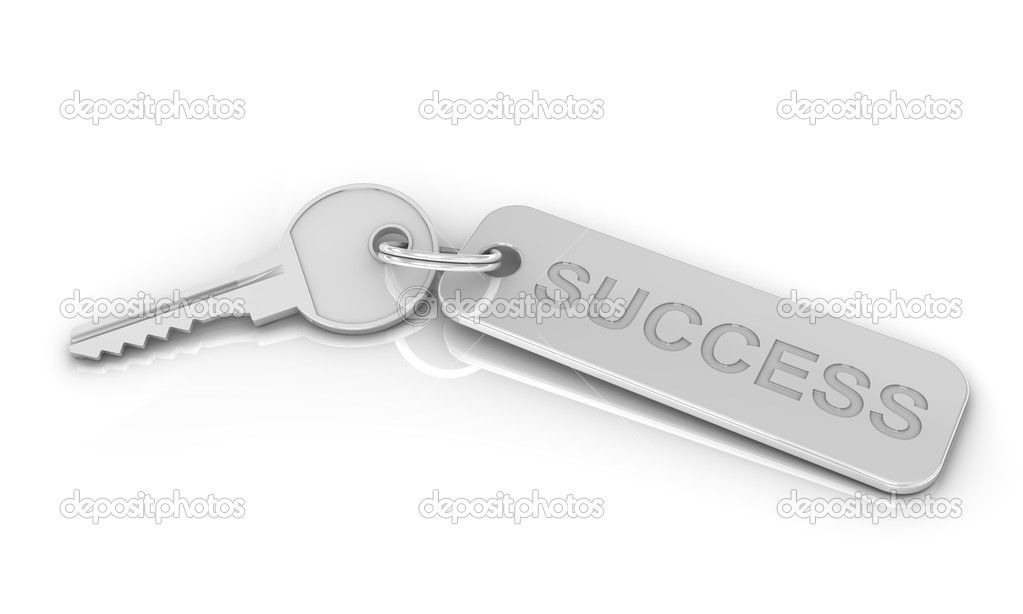 Silver key to success on a white background. Image concept and part of a series. — Stock Photo #2851293