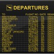 International airport departures board with all flights cancelled — Foto Stock
