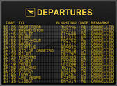 International airport departures board with all flights cancelled — Stock Photo