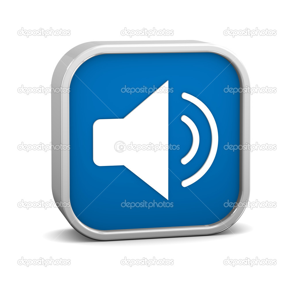 Dark Blue enable audio sign on a white background. Part of a series. — Stock Photo #3523950