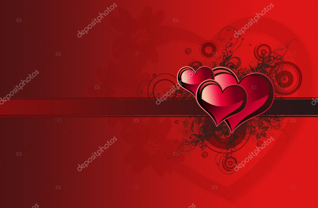 Valentine card with huge heart and three small heart — Stock Photo #2836677