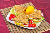 Triangle fresh sandwich with vegetable — Stock Photo