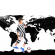 Young footballer with ball and world map on background — Stock Photo