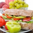 Stock Photo: Diet brown baguette with vegetable