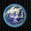 Blue Earth in space with binary code — Stock Photo #3640791