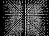 Binary code matrix in cube — Stock Photo