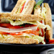 Fresh and delicious classic club sandwich with toasters - Stock Photo