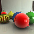 Christmas balls on table - Stock Photo