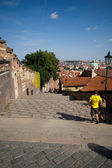 Walking descend from the Prague Castle — Stock Photo