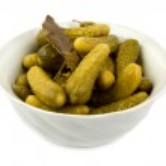 Salt cucumbers in a dish — Stock Photo