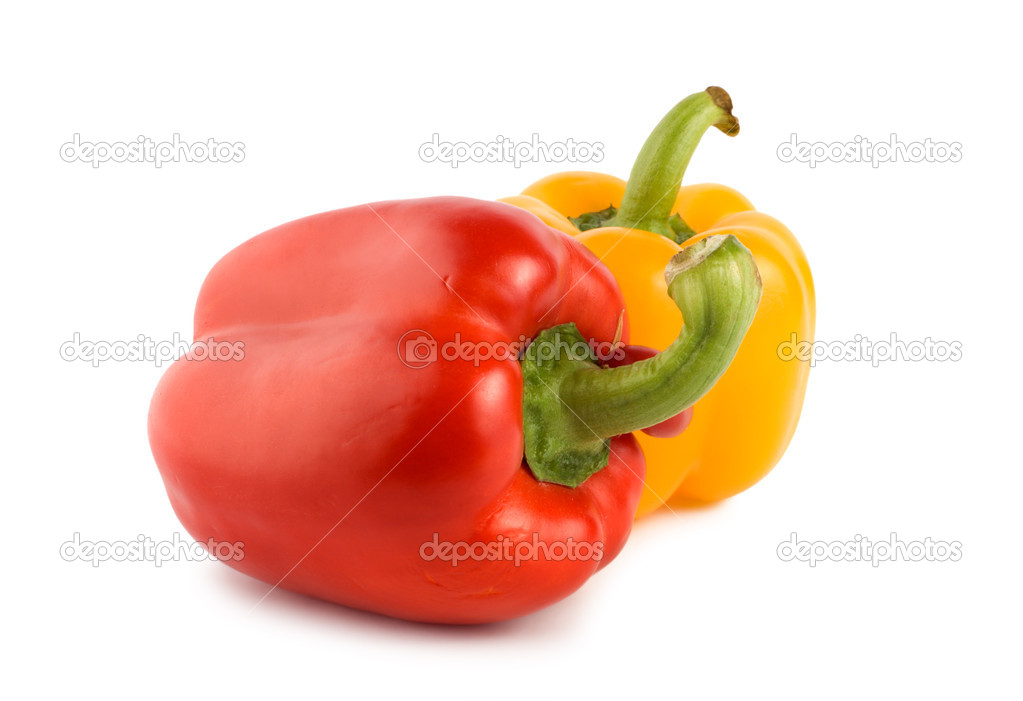 Yellow and red pepper isolated on white background — Stock Photo #3262281