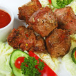 Dishes of roast meat with spice — Stockfoto