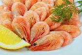 Boiled shrimp with lemon — Stock Photo