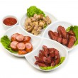Bavarian sausages with ketchup — Stock Photo #4979540