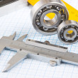 Calipers, bearing and square — Stock Photo