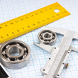 Calipers, bearing and square — Foto Stock