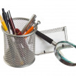 Basket with pens and pencils — Stock Photo