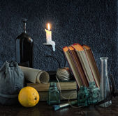 Classic Still Life with Candle — 图库照片