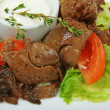Stewed chicken liver — Stockfoto