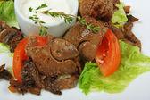 Stewed chicken liver — Stock Photo