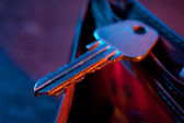 The key in the color light — Stock Photo