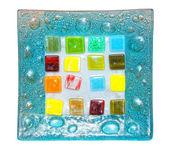 Dekorative blaue glasplatte — Stockfoto