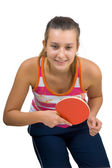 Young beautiful girl playing table tennis — Stock Photo