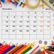 Stock Photo: Monthly calendar with office and stationery for 2011