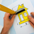 Drawing at home with construction tools — Stock Photo #5099062