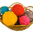 Ball of wool in basket — Stock Photo