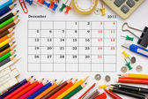 Monthly calendar with office and stationery for 2011 — Stock Photo