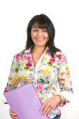 Kobieta w biurze tabeli — Zdjęcie stockowe