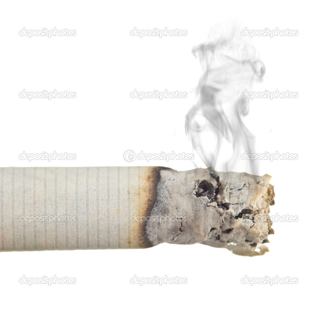 Stairway to hell out of cigarettes isolated on a white background — Stock Photo #5099110