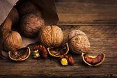 Nuts in paper bags — Стоковое фото