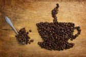 Picture a cup of coffee made from beans — 图库照片