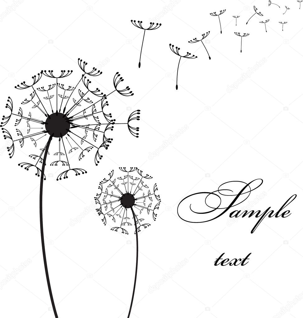 Graphic two dandelion on the wind vector picture — Stock Vector #2839338