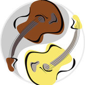 Guitar yinyang — Stock Vector