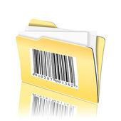 Código de barras en la carpeta de documentos — Vector de stock